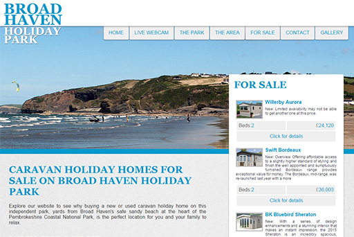 Broad Haven Holiday Park Website